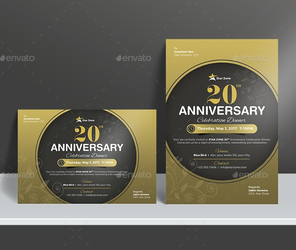 Elegant Anniversary Invitation Card Template