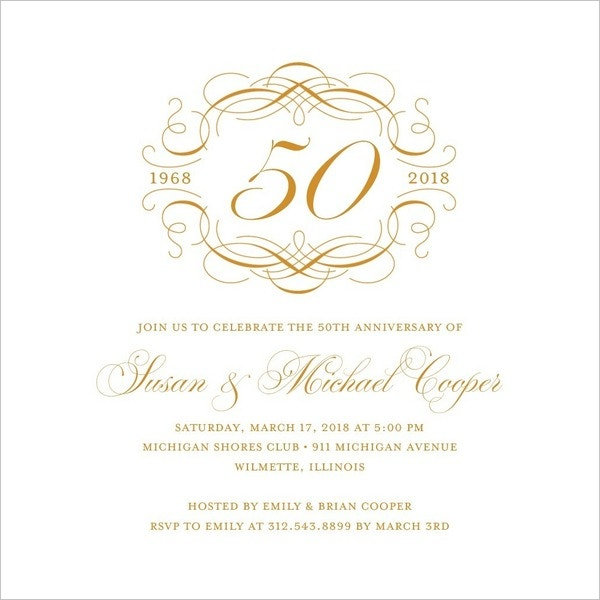 thermography anniversary invitations simply template