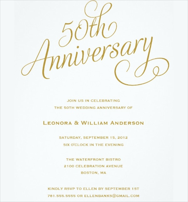 50th wedding anniversary invitations template