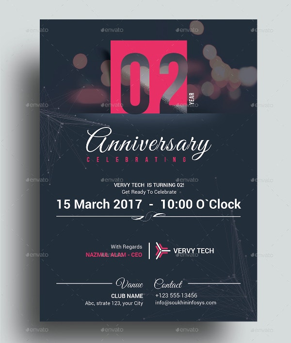 Beautiful & Elegant Anniversary Invitation Card Template