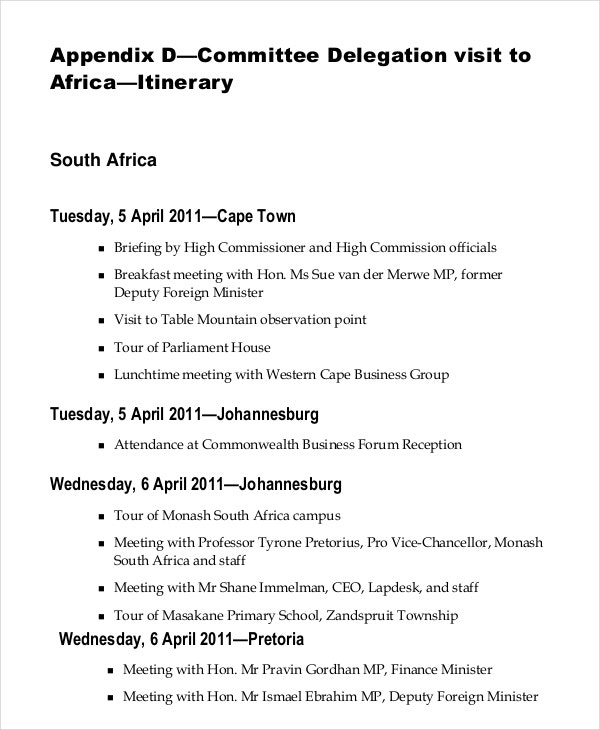 Official Itinerary Template