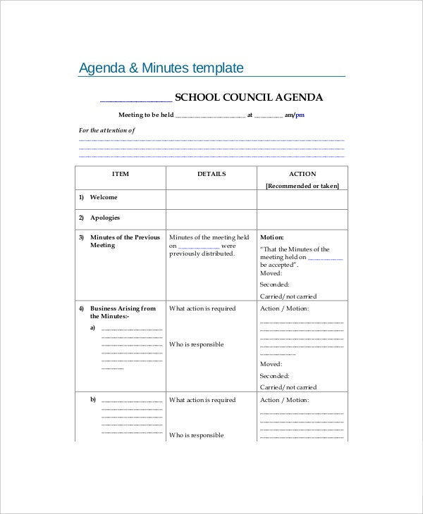 blank school meeting agenda minutes template