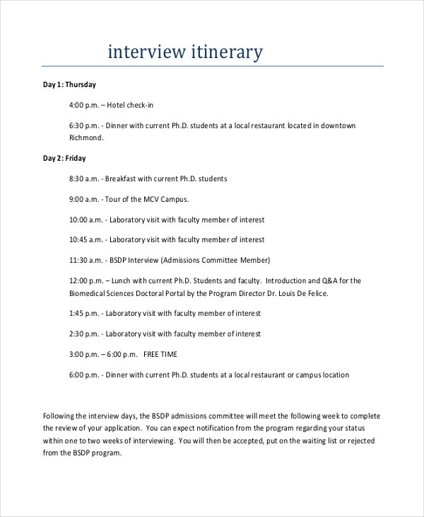 Interview Itinerary Template