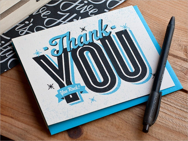 pretty blue thank you card