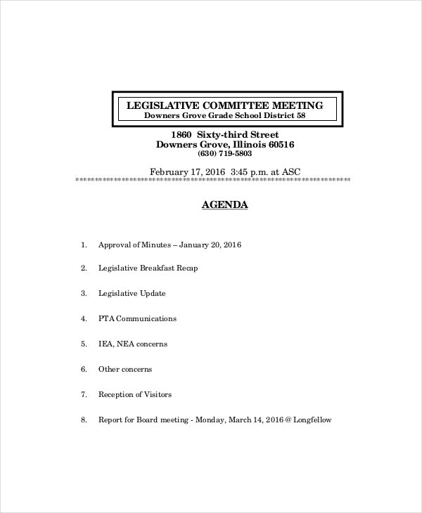 Legislative Committee Meeting Agenda