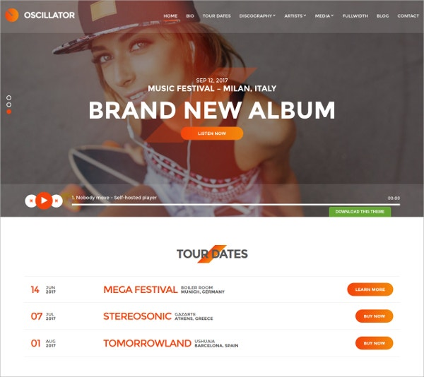 Free DJ & Event Organizer WordPress Theme