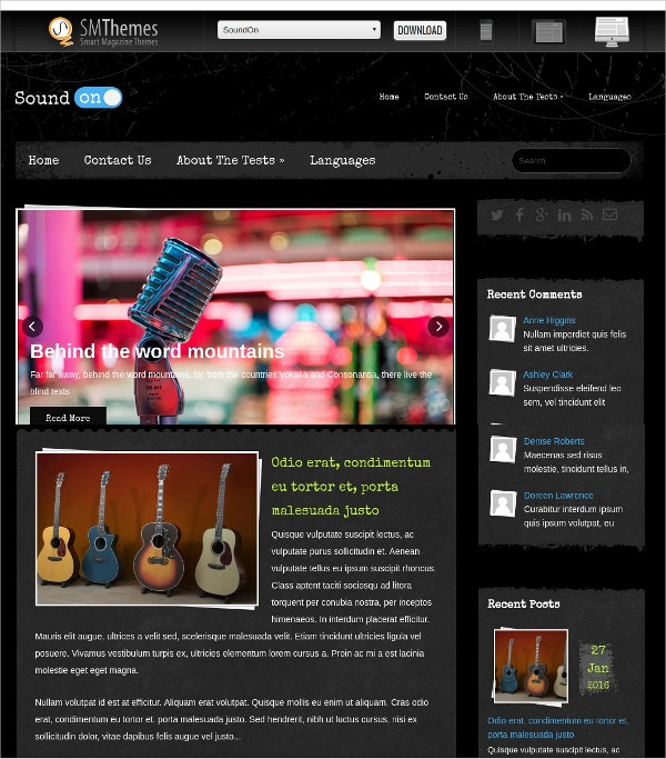 free lovely music wordpress theme