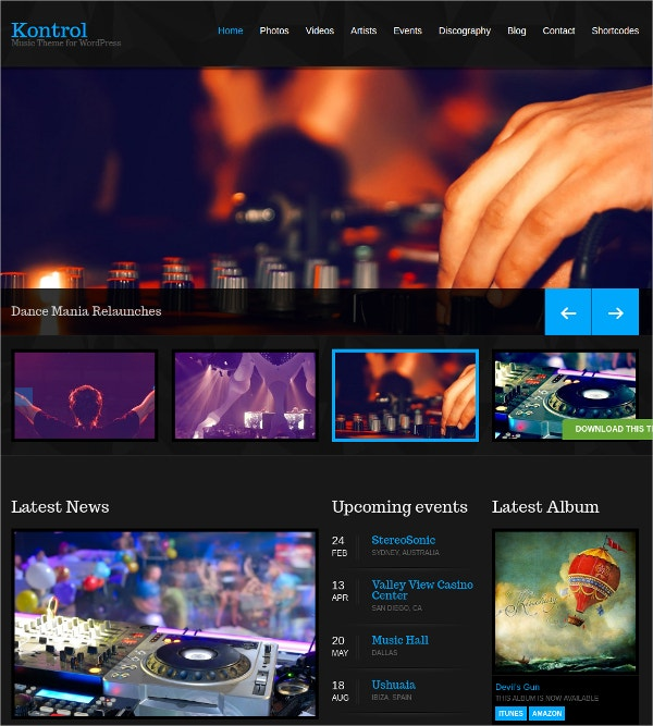 Free DJs, Music Artists, Bands WordPress Theme