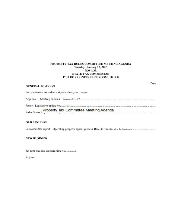 Property Tax Committee Meeting Agenda