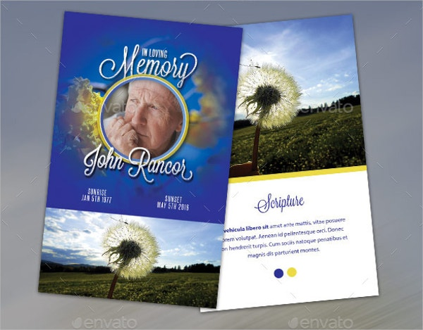 Premium Blue Funeral Program Stationary Template