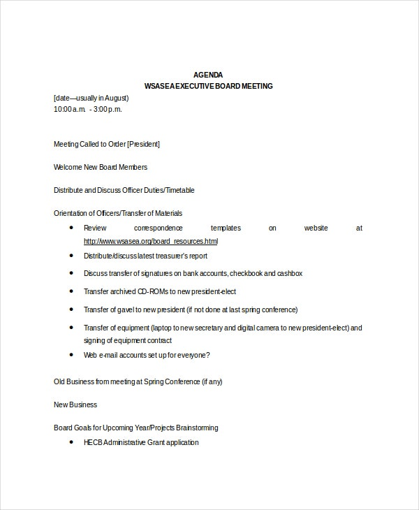 First Board Meeting Agenda