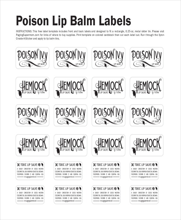 poison lip balm label