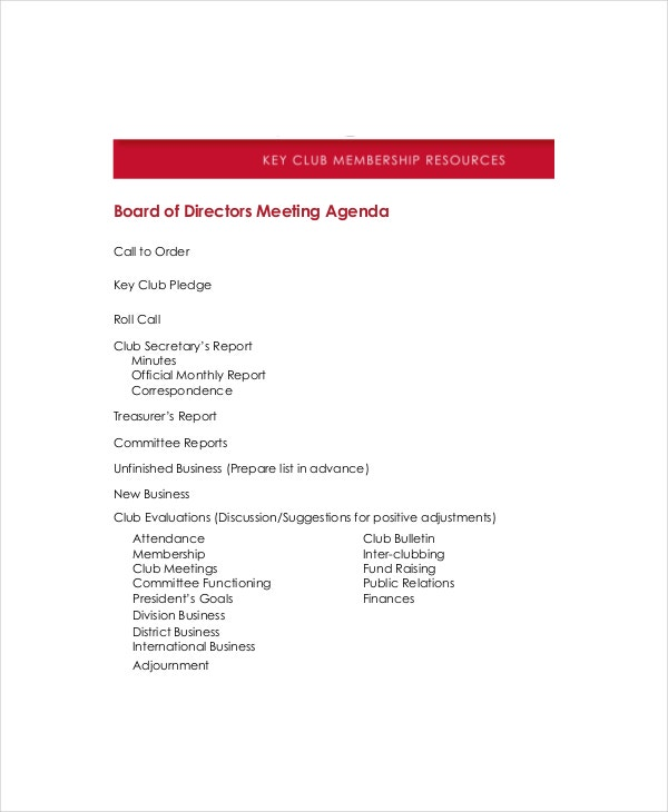 Board Of Directors Meeting Agenda Template – 8+ Free Word, Pdf