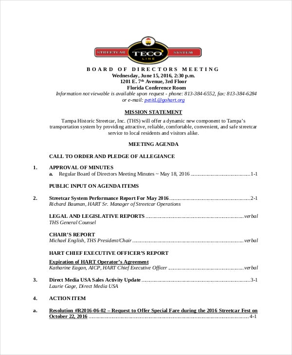Board Of Directors Meeting Agenda Template   Free Word Pdf