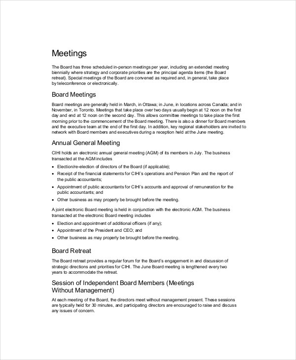 board of directors meeting agenda template to determine company policy