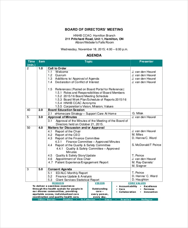 board of directors meeting agenda template for communication