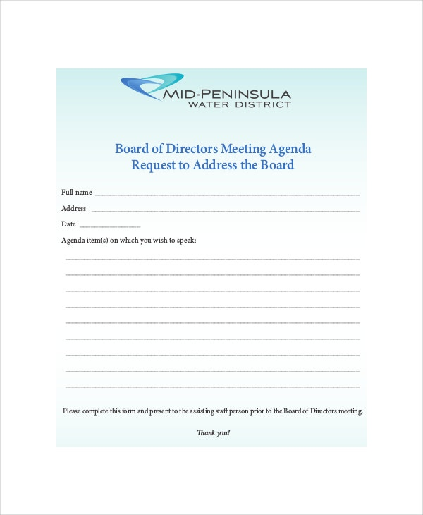 board of directors meeting agenda form
