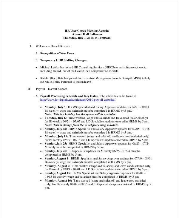 Human Resources Budget Meeting Agenda Template