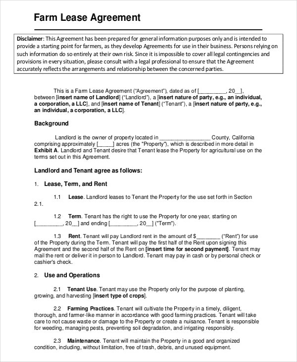 Lease template 20 free word pdf documents download for Farm partnership agreement template