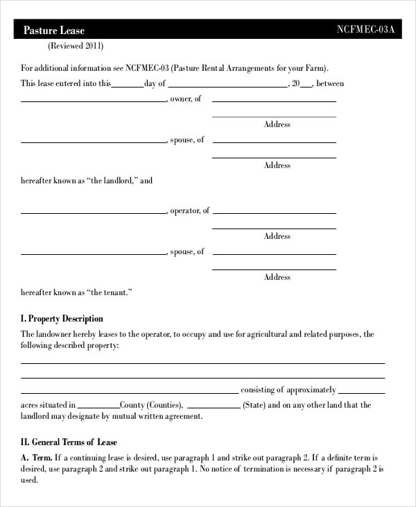 Lease template 20 free word pdf documents download for Farm rental agreement template
