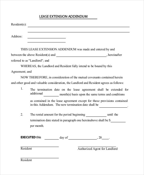 Lease Extension Template
