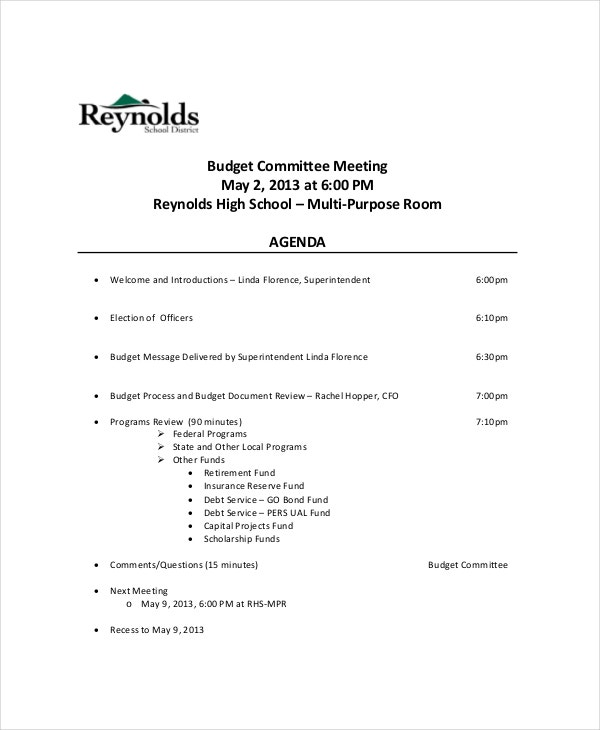 School District Budget Committee Meeting Agenda