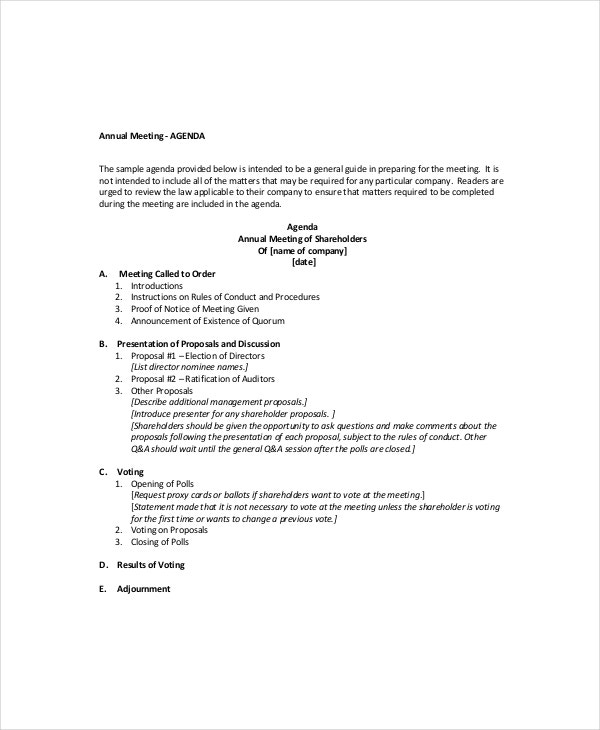 Business Meeting Agenda Template – 10+ Free Word, Pdf Documents