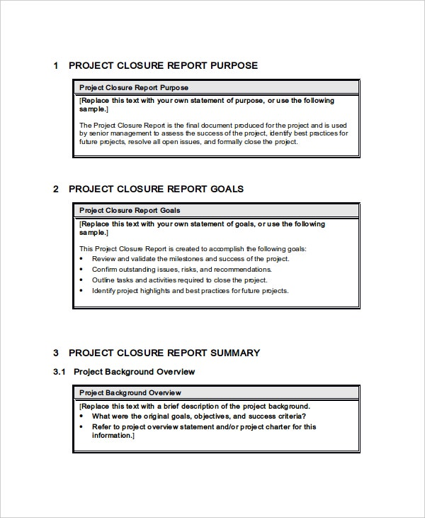 49 report templates free sample example format free for End of project report template
