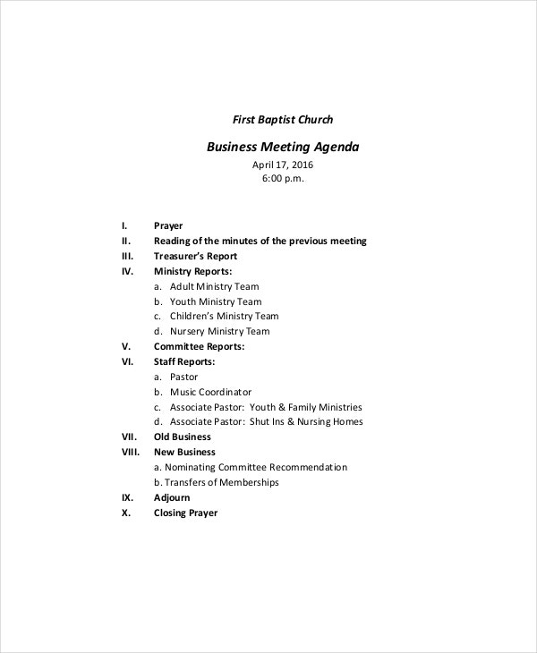 church business meeting agenda template