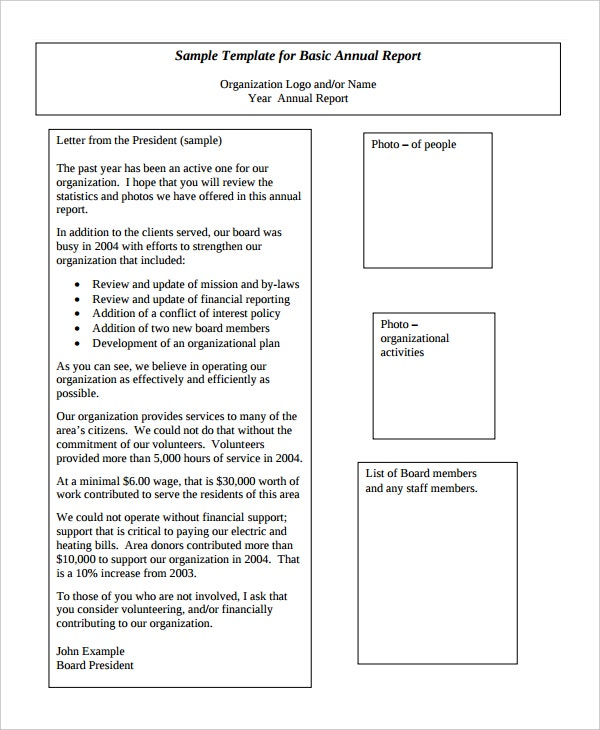 basic annual report template sample