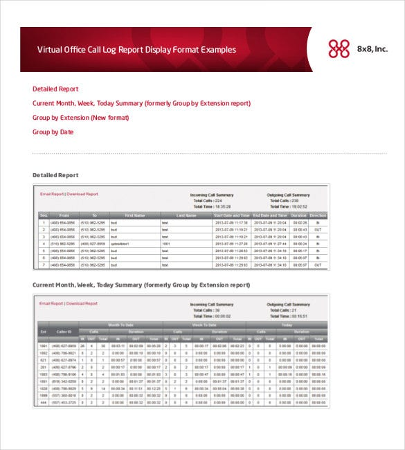 call log and report template download