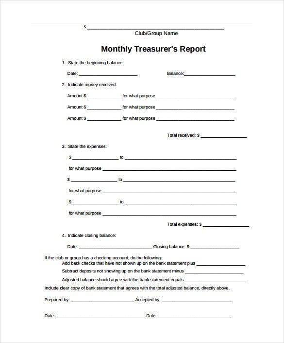 clubs monthly treasurers report template