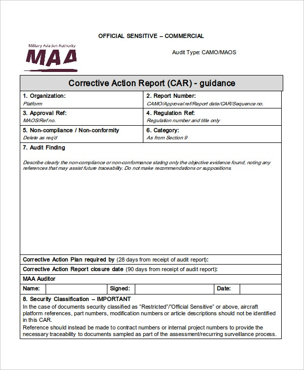 maa corrective action report car template