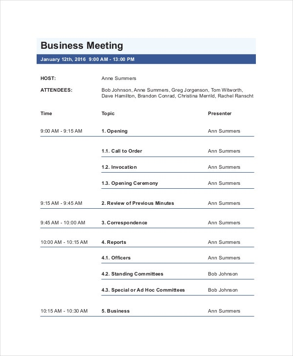 agenda formats business meetings