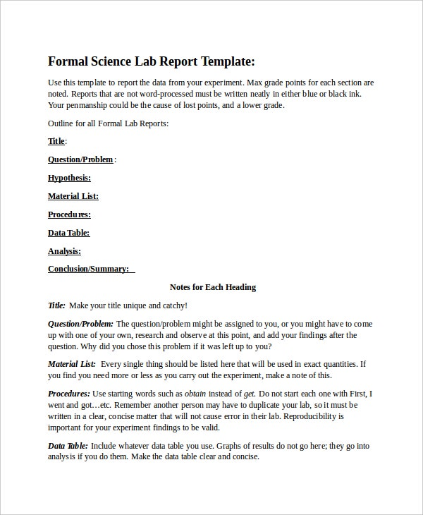 formal science lab report template