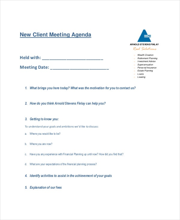 client meeting agenda template  u2013 10  free word  pdf