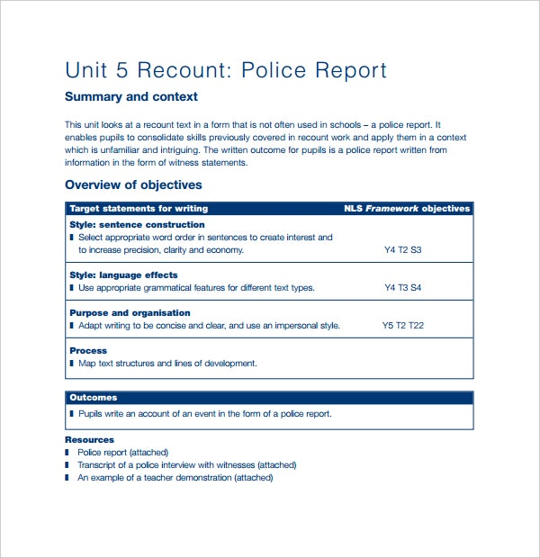 recount police report template