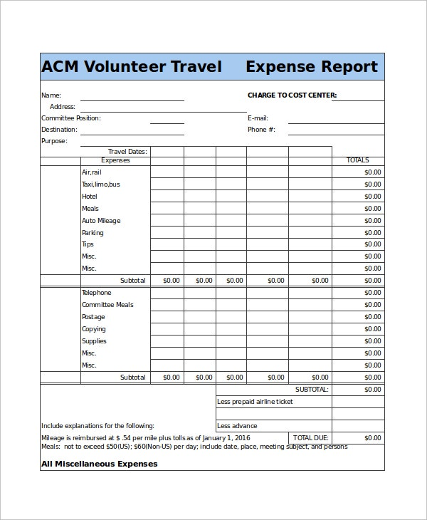travel expense report form template1