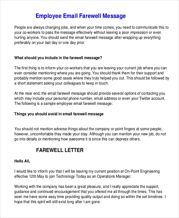 Farewell Message Template