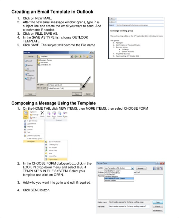 Outlook Message Template