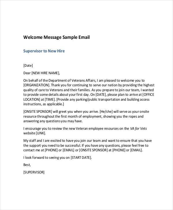 Welcome Message Template