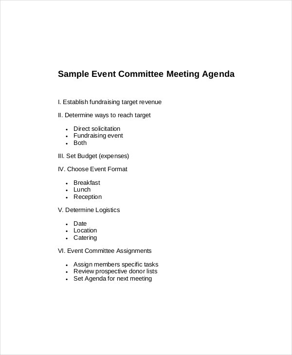 committee meeting agenda template for fund raising