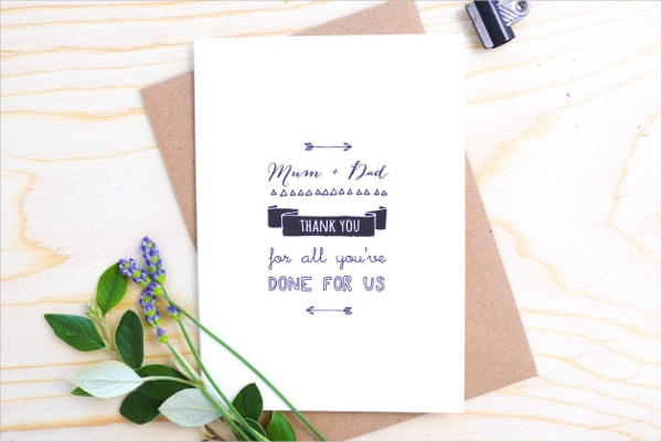 Mom & Dad Wedding Thank You Card Template