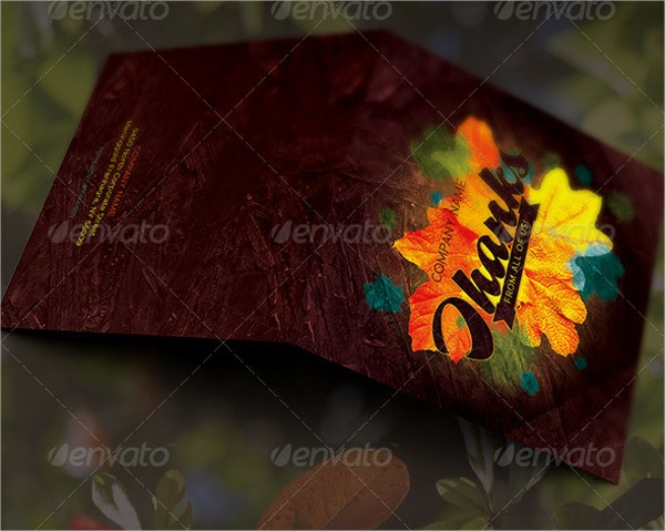 Fall Leaves Thank You Card Template