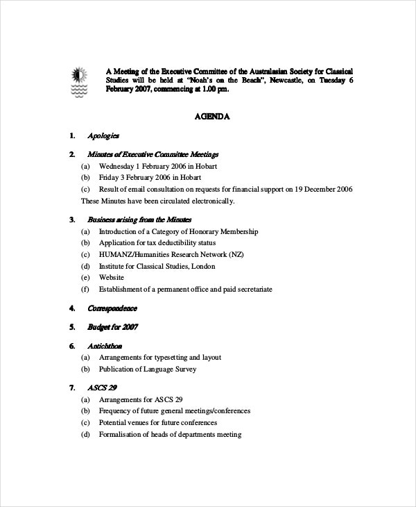 Committee Meeting Agenda Template – 12+ Free Word, Pdf Documents