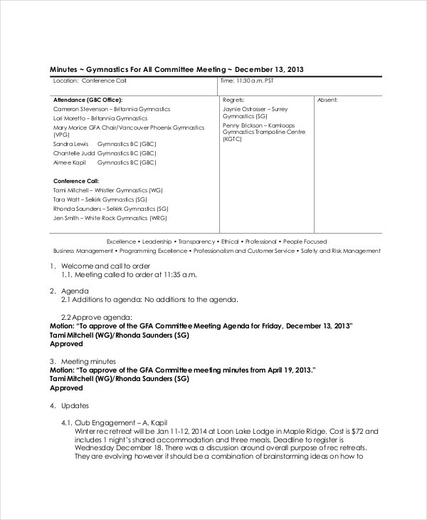 technical committee meeting agenda template