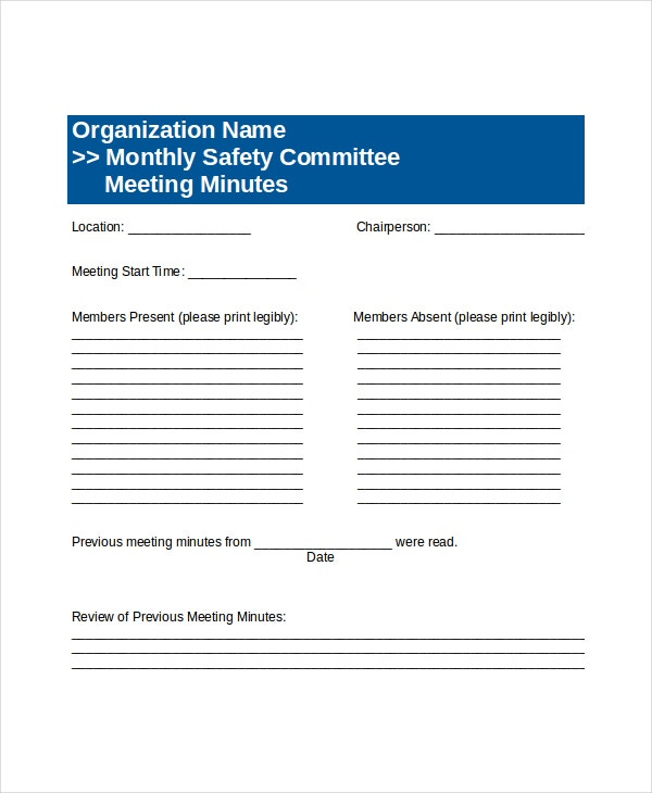 Safety meeting template bing images for Health and safety committee meeting agenda template