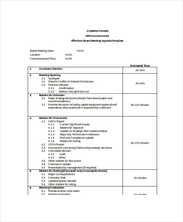 Effective Board Meeting Agenda Template