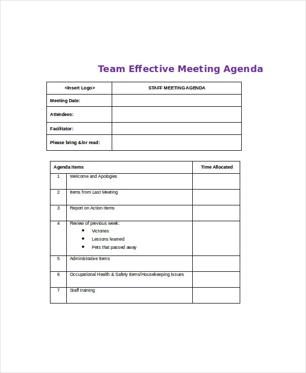 Team Effective Meeting Agenda Template