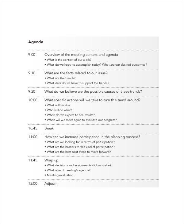 designing effective meeting agenda